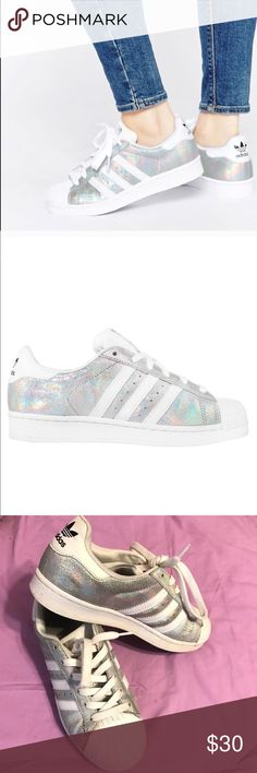 Adidas superstar Hologram sneakers Definitely worn, I've included picture where they show signs of wear. adidas Shoes Sneakers