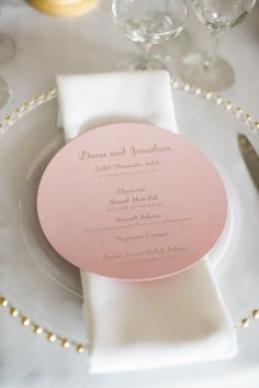 Wedding reception menu idea; Photo: Brklyn View Photography