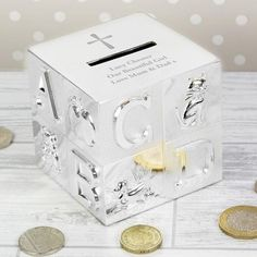 Personalised Cross ABC Money Box Communion Gifts, Personalised Money Box, Personalized Birthday Gifts,