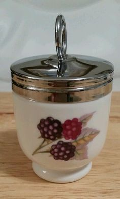 Vintage Egg Coddler Jar Royal Worcester England Porcelain Chrome Lid Marked  #RoyalWorcester  Please RePinit, ReTweet and Share on Facebook.  Thanks