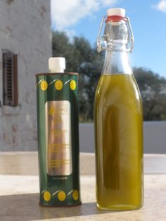 Rustic Puglia's freshly pressed oil: look at the colour!