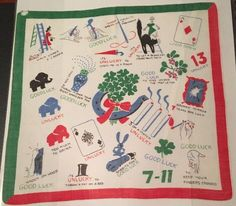 "Vintage Handkerchief Hankie Good Bad Luck Lucky Advice 13"" Black Cat Horseshoe #Unbranded #Novelty #Casual"