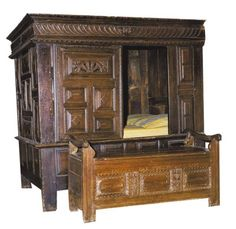Lit clos ,(double sided box bed) Saint-Vougay.France