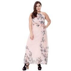 ddaf69ab93c  Woldgirls Women s Plus Size Halter Chiffon Boho Maxi Party Dress With  Waist Tie-Pink