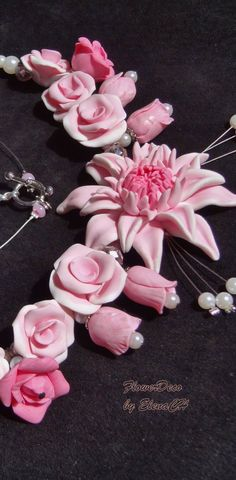 Rose Polymer Clay Necklace by flowerdeco on Etsy, $45.00