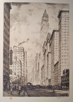 BROADWAY AND WOOLWORTH BUILDING, NEW YORK. VM – 427x300. 54 prints. 2 states.