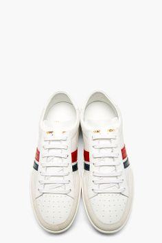 SAINT LAURENT White Mesh & Leather Stripe Sneakers