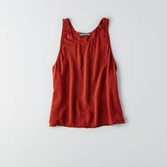 AEO Don't Ask Why High Slit Tank (51 NZD) ❤ liked on Polyvore featuring tops, red, red singlet, crop top, red tank top, crop tank and red tank