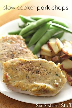The EASIEST Slow Cooker Pork Chops you will ever make! Only 5 ingredients. SixSistersStuff.com