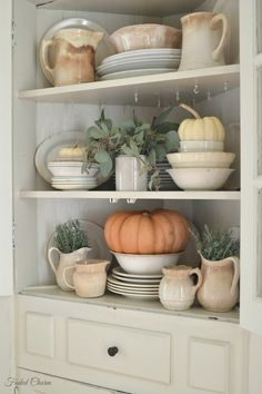 ironstone with white pumpkins and greenery / neutral fall decor