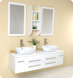 "59"" Fresca Bellezza (FVN6119WH) White Modern Double Vessel Sink Bathroom Vanity"