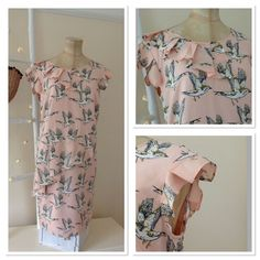 Marks and Spencer's Limited Collection  Bird Print Women's  Peach Dress Size 14  | eBay