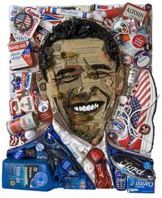 Barack Obama 3D Portrait Jason Mecier photo Portraits Pop Art, 3d Portrait, Obama Portrait, Mosaic Portrait, Art Du Collage, Collage Kunst, Junk Art, Collages, Trash Art