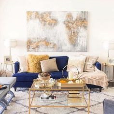 Inspo Wohnung One Simple Living Room Tips For The Rose Gardener Blue And Gold Living Room, Blue Couch Living Room, Glam Living Room, Simple Living Room, Living Room Decor Gold, Blue Living Room Furniture, Glam Colorful Living Room, Navy Living Rooms, Living Room Seating