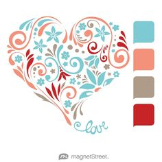 Turquoise, Coral, Ashwood, and Ruby Wedding Color Palette - I like the pop of the bright red