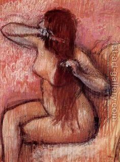 Seated Nude Combing Her Hair  Edgar Degas