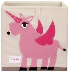 "Delightful Pink Unicorn Toy STorage BoxWe fell instantly in love with these delightful animal storage boxes and we think your children will too - may even help witth tidying those toys away !  They are made from a heavy 100% cotton with a felt applique face. Measuring 13"" height x 13"" width x 13"" depth they are well sized for storing books, toys or even laundry. What is more they fit the IKEA cube storage shelves such as the Expedit.Cotton Canvas13"" x 13"" x 13"""