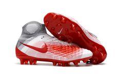5f9cdc877f6f Nike Magista Obra II FG Soccer Shoes Grey White Red on www.evensoccer.com