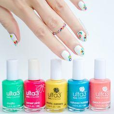 rainbow nails, marble nails