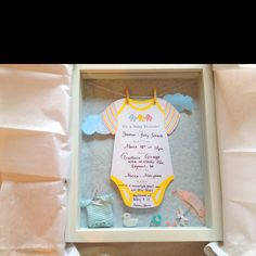 Framed baby shower invite shadow box for babies room One Day You