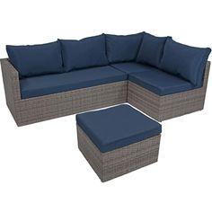 Sunnydaze Decor Port Antonio Gray 4-Piece Metal Patio Sectional Seating Set with Dark Blue Cushions