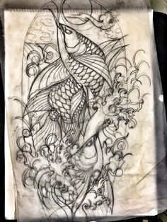 Carp Tattoo, Koi Fish Tattoo, Koi Tattoo Design, Tattoo Designs, Fish Drawings, Tattoo Drawings, Father Tattoos, Frog Tattoos, Full Arm Tattoos