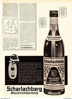 Werbung - Original-Werbung/ Anzeige 1955 - 3/4 SEITE - SCHARLACHBERG MEISTERBRAND / L-FORMAT - ca. 230 x 310 mm