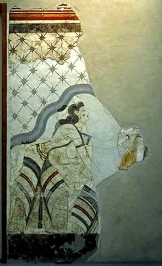 Wall painting from the House of the Ladies found in the site of Akrotiri, Museum of Prehistoric Thira, Santorini, Greece