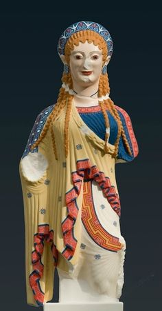 Reconstruction (A1) of the so-called Chios kore from the Akropolis in Athens, 2012. Copy of the original: Athens, ca. 500 BC. Crystalline acrylic glass, with applied pigments in tempera. Liebieghaus Skulpturensammlung, Polychromy Research Project, Frankfurt am Main, acquired 2016 as gift from U. Koch-Brinkmann and V. Brinkmann. Image courtesy of the Fine Arts Museums of San Francisco.