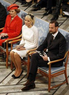 Queen Sonja, Crown Princess Mette-Marit and Crown Prince Haakon at Nobel Peace Prize ceremony Dec 2011