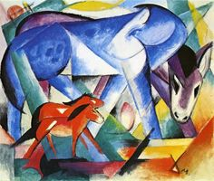 The First Animals // Franz Marc // 1913 // Painting Tempera on paper // Height: 39.05 cm (15.38 in.), Width: 46.67 cm (18.38 in.) // Private collection