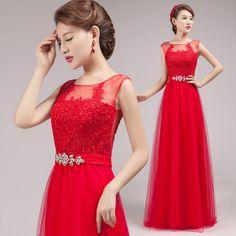 婚纱礼服新娘敬酒服晚礼服新款2014冬时尚韩版双肩婚礼长款修身红
