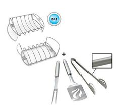 Rib Roast Rack   BBQ Grill Tools Set - HEAVY DUTY 20% THICKER STAINLESS STEEL - Professional Grade Barbecue Accessories - 3 Piece Utensils Kit Includes Spatula Tongs & Fork - Unique Gift Idea For Dad *** Check this awesome product by going to the link at the image.