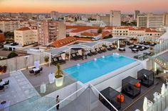 Portugal - Lisboa . O terraço do hotel Epic Sana Lisboa foi eleito pelo site de turismo e viagens Condé Nast Johansens como um dos mais belos do mundo.