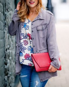 Military Jacket, Floral Blouse, Ripped Jeans and a red vegan leather clutch via Something About That Red Blouses, Blouses For Women, Winter Outfits, Summer Outfits, Floral Blouse, Leather Clutch, Ripped Jeans, Vegan Leather, Street Styles