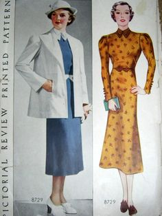 1930s DRESS and JACKET Pattern | Pictorial Review 8729