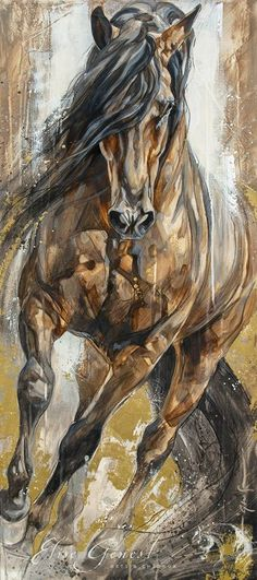 """'Utopia' by Elise Genest Indian Art Paintings, Animal Paintings, Cute Horses, Beautiful Horses, Horse Drawings, Art Drawings, Horse Artwork, Equine Art, Art Plastique"