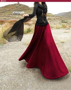 Designers automne laine mode Casual Vintage parapluie Long jupe soleil Maxi…