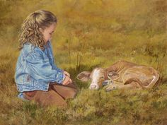 Getting to Know You by June Dudley Little Cowgirl Children Calf Canvas 18x24 #Realism - June Dudley loves to paint children.  This little girl is delighting in playing with a new calf on the ranch.  It will not take long for these little ones to become best pals.