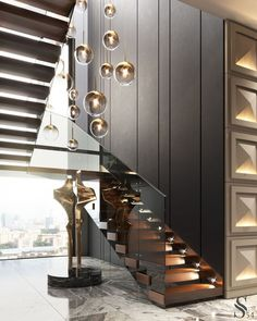 Staircase Interior Design, Luxury Staircase, Home Stairs Design, Modern House Design, Modern Interior Design, Staircase Design Modern, Modern House Facades, Stair Design, House Stairs