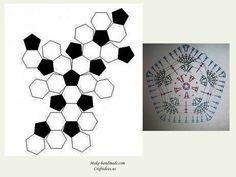 Crochet cute owl of african hexagone for kids, crochet chart