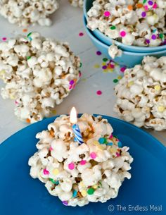 Popcorn Birthday Cake? What a great idea!  Try with Unsweetened Almond Breeze :)