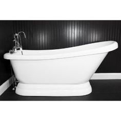 "HLSLPD59FPK 59"" long Single Slipper PEDESTAL Tub with Pedestal Base and BRUSHED NICKEL, Faucet, Supply Lines and Drain"
