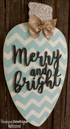 Christmas Light Bulb Ornament Door Hanger Merry and Bright Blue Silver Glitter CHEVRON Rustic wood Decor Hanging painted wooden sign on Etsy Christmas Door, Christmas Time, Christmas Wreaths, Christmas Decorations, Christmas Signs On Wood, Desk Decorations, Blue Christmas Decor, Christmas Jokes, Office Christmas