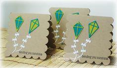 Sending Sunshine 3x3 Notecards by Charmaine Ikach #Cardmaking, #3x3Notecards, #LittleBitsDies