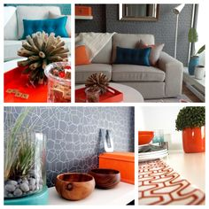 Orange and teal colour accents. Design by Nancy DeVries of Urban Aesthetics. Teal Colors, Room Colors, Accent Colors, Decorating Blogs, Interior Decorating, Aesthetics, Rooms, Urban, Colour