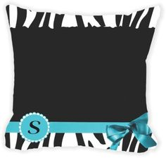 Rikki Knight® Letter ' S ' Sky Blue Zebra Bow Monogram Microfiber Throw Décor Pillow Cushion 16' Square Double Sided Print (Insert Included)