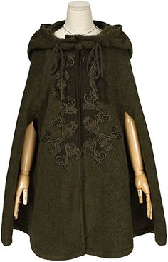 Artka Women'S Embroidery Turn-Down Collar Woolen Cape Coat Green One Size: Amazon.co.uk: Clothing
