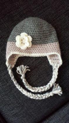 Crochet hat with flower :) Crochet Hats, Beanie, Flowers, Fashion, Knitting Hats, Moda, Fashion Styles, Beanies, Royal Icing Flowers
