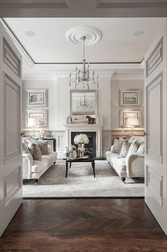 Classic Living room with sophisticated decor. Classic Living room with sophisticated decor. London Living Room, My Living Room, Room London, Dark Wood Floors Living Room, Cozy Living, Living Room Panelling, Glamour Living Room, Living Walls, Living Room With Fireplace
